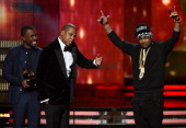 Musicians Frank Ocean JayZ and TheDream accept Best Rap/Sung Collaboration award for 'No Church in the Wild' onstage at the 55th Annual GRAMMY Awards...