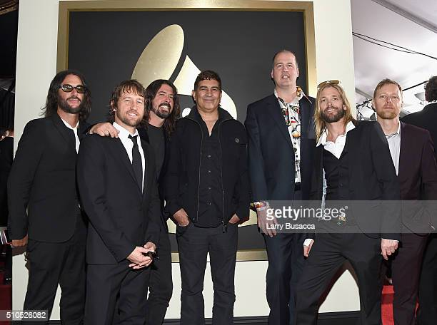 Musicians Franz Stahl Chris Shiflett Dave Grohl Pat Smear Krist Novoselic Taylor Hawkins and Nate Mendel attend The 58th GRAMMY Awards at Staples...