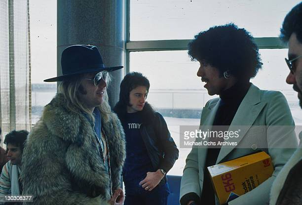 Musicians Freddie Mercury Roger Taylor and John Deacon of British rock band Queen with Phil Lynott of Thin Lizzy during the 'Queen Lizzy tour' of the...