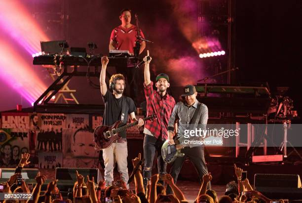 Musicians from Linkin Park Brad Delsen Mike Shinoda Joe Hahn and Dave Farrell perform during the 'Linkin Park And Friends Celebrate Life In Honor Of...