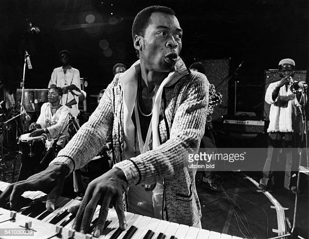 Musicians from Nigeria Kuti Fela Anikulapo * saxophonist bandleader Nigeria founder of the Afrobeat Fela Anikulapo Kuti and band performing during...