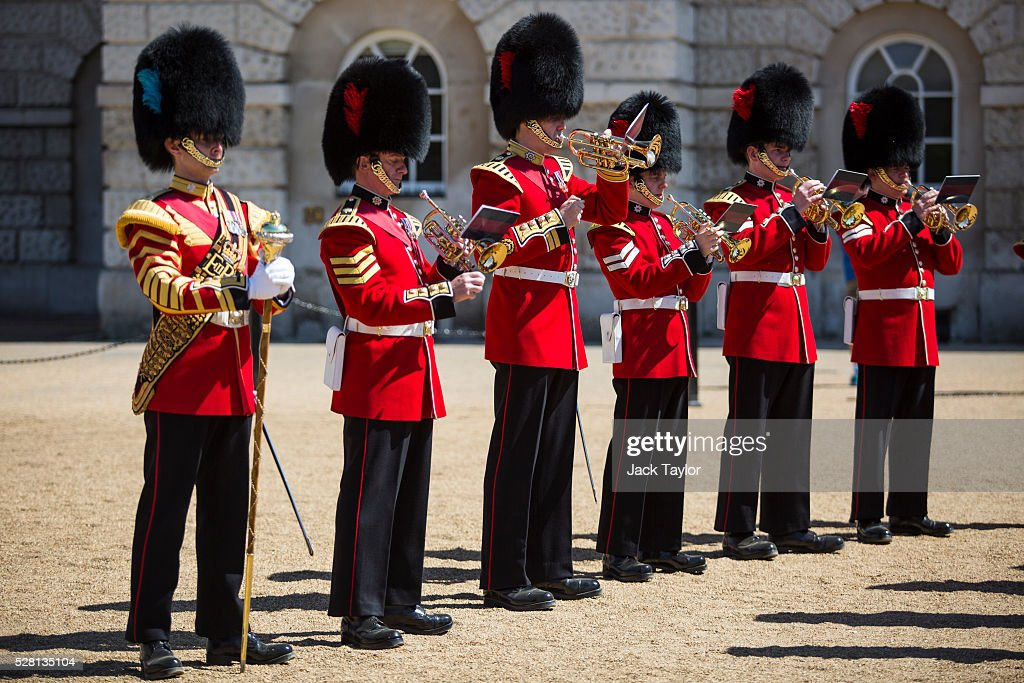 Musicians from the Household Division take part in an Act of Reverence featuring a set of 100-year-old bagpipes at Horse Guards Parade on May 4, 2016 in London, England. The bagpipes belonged to a Pipe Major of the Regiment of the Argyll and Sutherland Highlanders who died after becoming ill in the trenches at the Battle of the Somme. The bagpipes were brought to Horse Guards Parade today for a performance to launch the Household Division's Beating Retreat concerts, which feature military drills, music and fireworks, taking place on the 8th and 9th of June.