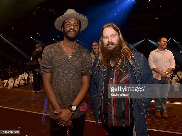 Musicians Gary Clark Jr and Chris Stapleton pose onstage during The 58th GRAMMY Awards at Staples Center on February 14 2016 in Los Angeles California