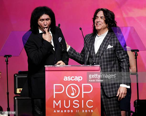 Musicians Gene Simmons and Paul Stanley of KISS accept the ASCAP Founders Award at the 32nd Annual ASCAP Pop Music Awards at the Loews Hollywood...