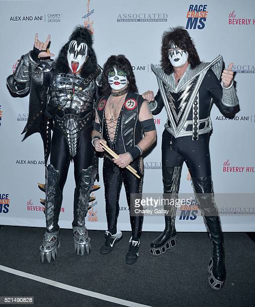 Musicians Gene Simmons Eric Singer and Tommy Thayer attends the 23rd Annual Race To Erase MS Gala at The Beverly Hilton Hotel on April 15 2016 in...