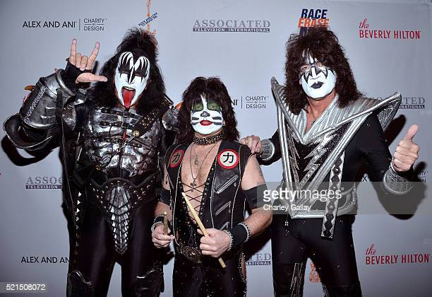 Musicians Gene Simmons Eric Singer and Tommy Thayer of KISS attend the 23rd Annual Race To Erase MS Gala at The Beverly Hilton Hotel on April 15 2016...