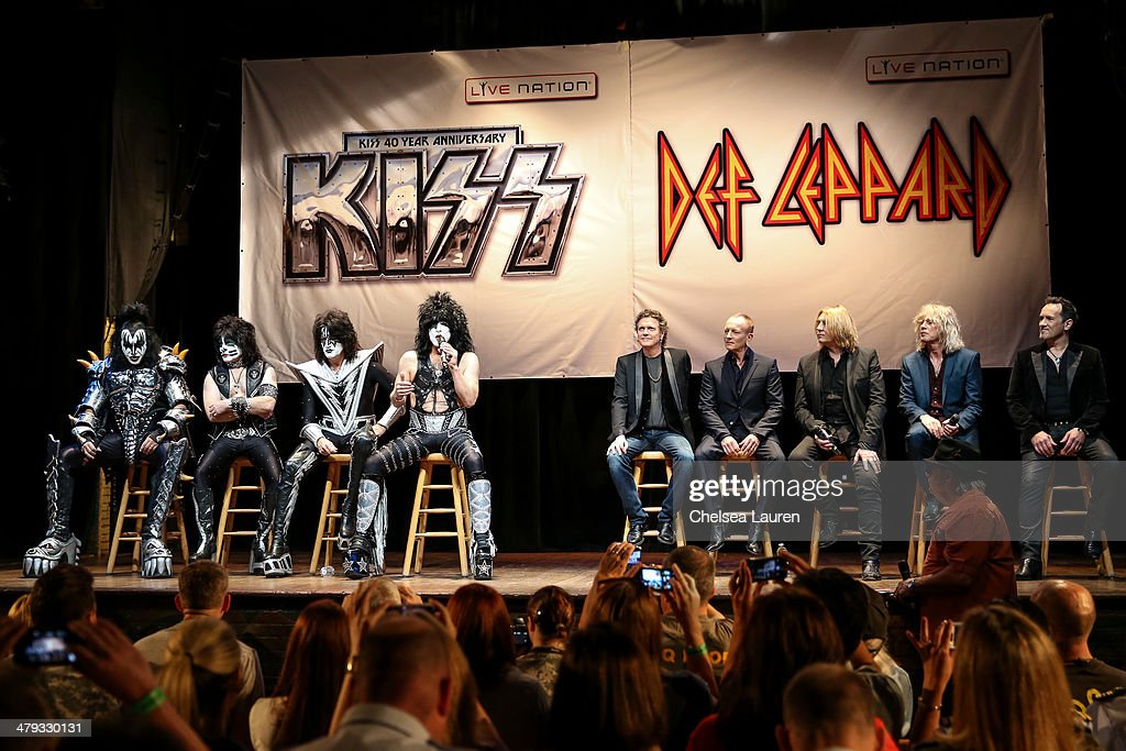 Musicians Gene Simmons, Eric Singer, Tommy Thayer and Paul Stanley of KISS and Rick Allen, Phil Collen, Joe Elliott, Rick Savage and Vivian Campbell of Def Leppardappear at a press conference to announce the KISS and Def Leppard '2014 Heroes Tour' at House of Blues on March 17, 2014 in West Hollywood, California.
