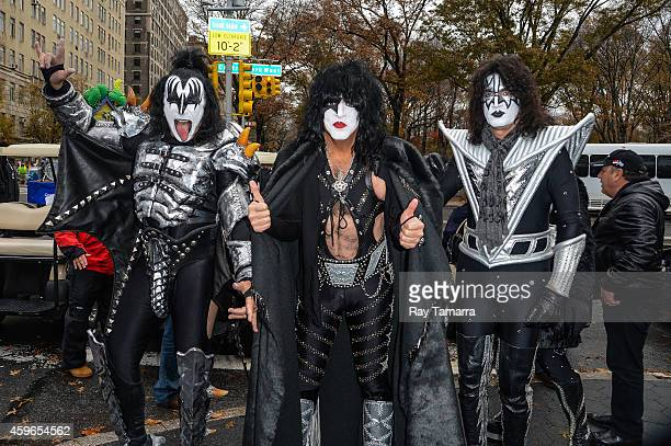 Musicians Gene Simmons Paul Stanley and Tommy Thayer of KISS attend the 88th Annual Macys Thanksgiving Day Parade on November 27 2014 in New York New...