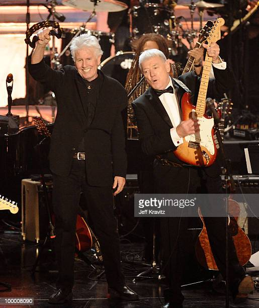 Musicians Graham Nash and Allan Clarke of the Hollies perform onstage at the 25th Annual Rock and Roll Hall of Fame Induction Ceremony at the...