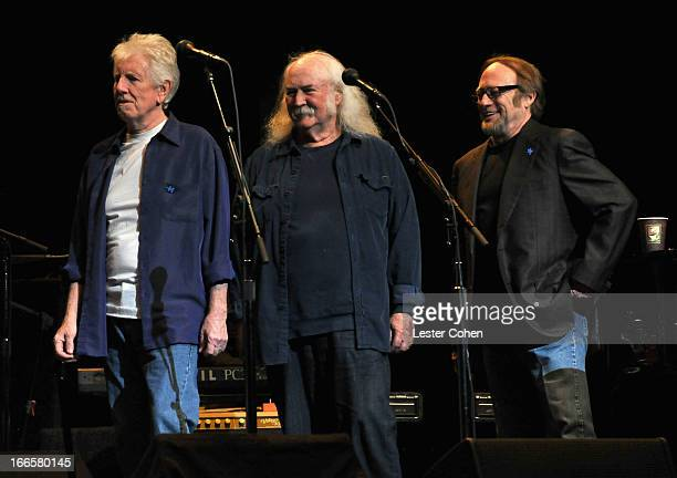Musicians Graham Nash David Crosby and Stephen Stills perform onstage at Light Up The Blues Concert An Evening of Music To Benefit Autism Speaks at...