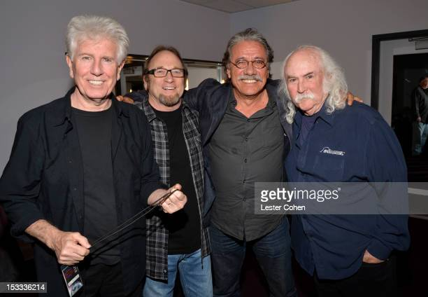 Musicians Graham Nash Stephen Stills Actor Edward James Olmos and Musician David Crosby seen backstage in support of the No On Proposition 32 Concert...