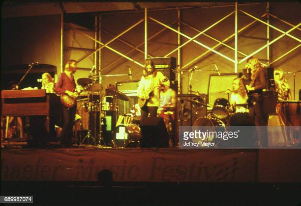 Musicians Gregg Allman Duane Allman Dickey Betts Jai Johanny 'Jaimoe' Johanson Berry Oakley Butch Trucks live in concert with the Allman Brothers...