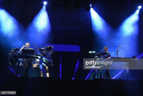 Musicians Guy Lawrence and Howard Lawrence of Disclosure during day 2 of the 2016 Coachella Valley Music Arts Festival Weekend 1 at the Empire Polo...