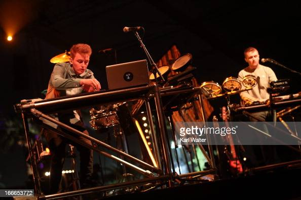 Musicians Guy Lawrence and Howard Lawrence of Disclosure during day 3 of the 2013 Coachella Valley Music Arts Festival at the Empire Polo Club on...