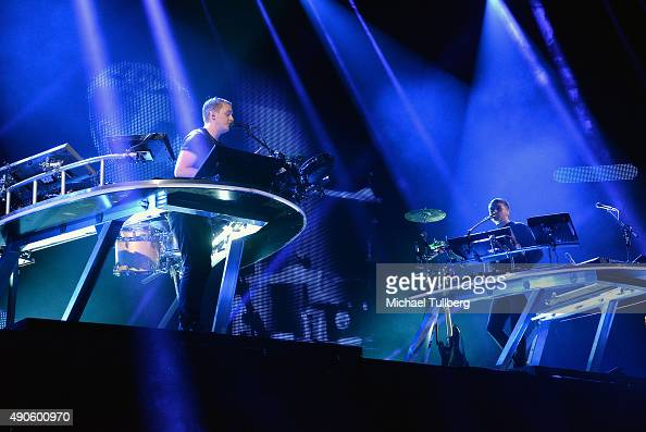 Musicians Guy Lawrence and Howard Lawrence of Disclosure perform at Los Angeles Sports Arena on September 29 2015 in Los Angeles California