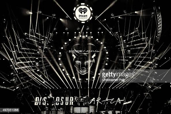 Image has been converted to black and white Musicians Guy Lawrence and Howard Lawrence of Disclosure perform onstage at the 2015 iHeartRadio Music...