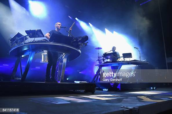 Musicians Guy Lawrence and Howard Lawrence of the band Disclosure perform on stage at Forest Hills Stadium on June 18 2016 in the Queens borough of...