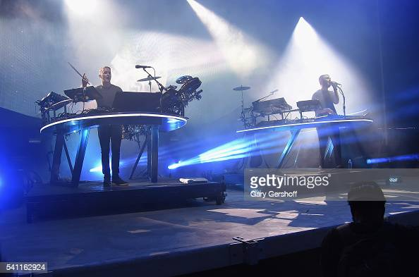 Musicians Guy Lawrence and Howard Lawrence of the band Disclosure perform on stage during the 2nd Annual Wild Life Festival at Forest Hills Stadium...