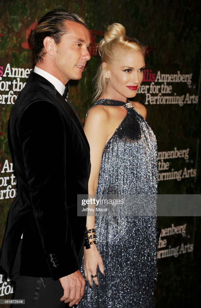 Musicians Gwen Stefani, wearing Ferragamo, (R) and Gavin Rossdale arrive at the Wallis Annenberg Center For The Performing Arts Inaugural Gala at Wallis Annenberg Center for the Performing Arts on October 17, 2013 in Beverly Hills, California.