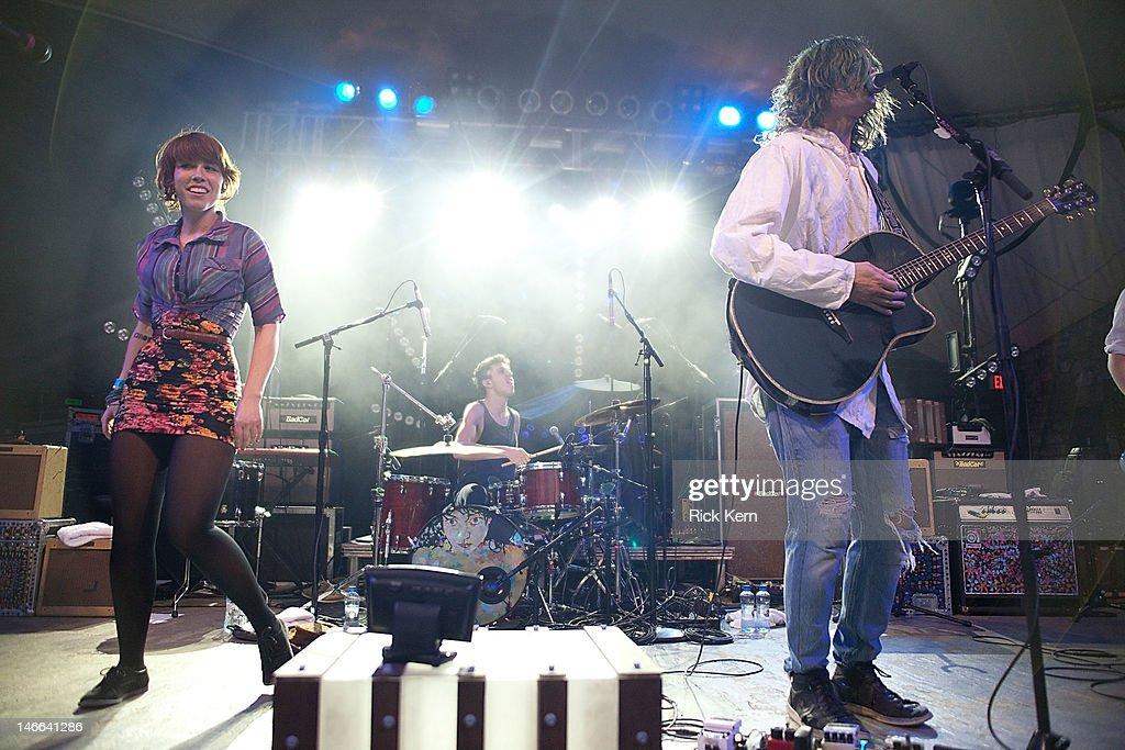 Musicians Hannah Hooper, Ryan Rabin, and Christian Zucconi of Grouplove perform at Stubb's Bar-B-Q on March 25, 2012 in Austin, Texas.