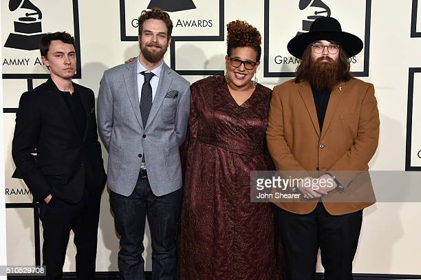 Musicians Heath Fogg Steve Johnson Brittany Howard and Zac Cockrell of Alabama Shakes attend The 58th GRAMMY Awards at Staples Center on February 15...
