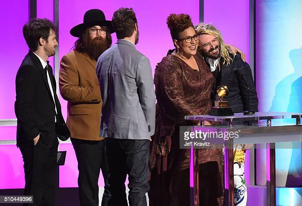 Musicians Heath Fogg Zac Cockrell Steve Johnson and Brittany Howard of Alabama Shakes and producer Shawn Everett accept the award for Best...