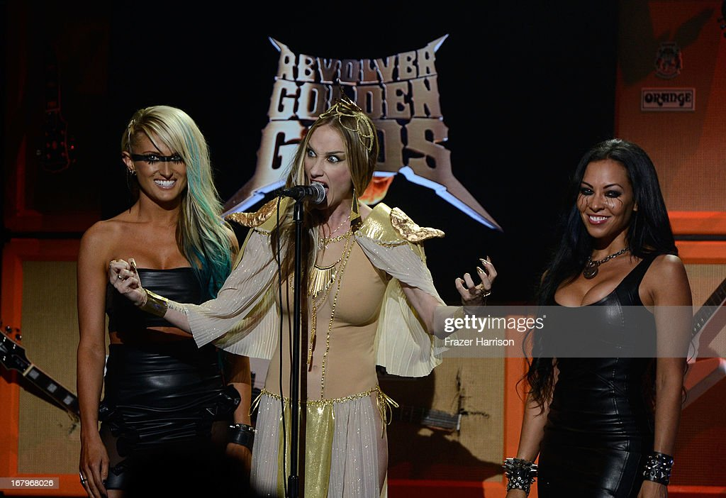 Musicians Heidi Shepherd Jill Janus and Carla Harvey at the 5th Annual Revolver Golden Gods Award Show at Club Nokia on May 2, 2013 in Los Angeles, California.