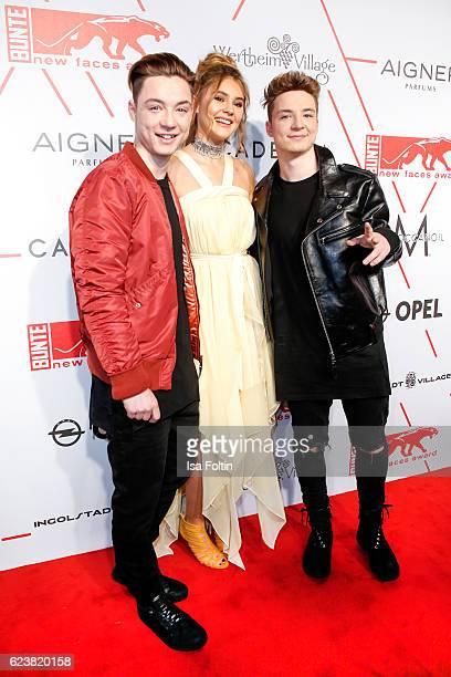 Musicians Heiko Lochmann and his borther Roman Lochmann and Stefanie Giesinger attend New Faces Award Style on November 16 2016 in Berlin Germany