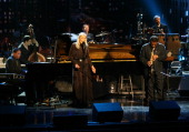 Musicians Herbie Hancock and Joni Mitchell on stage at The Thelonious Monk Institute of Jazz and The Recording Academy Los Angeles chapter honoring...