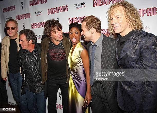 Musicians Hugh McDonald Tico Torres Richie Sambora actress Montego Glover actor Chad Kimball and musician David Bryan attend the opening night party...