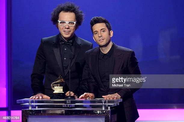 Musicians Ian Axel and Chad Vaccarino of A Great Big World speak onstage during The 57th Annual GRAMMY Awards premiere ceremony at STAPLES Center on...