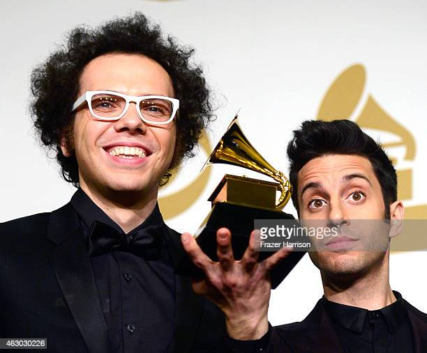 Musicians Ian Axel and Chad Vaccarino of A Great Big World winners of Best Pop Duo/Group Performance for 'Say Something' pose in the press room...