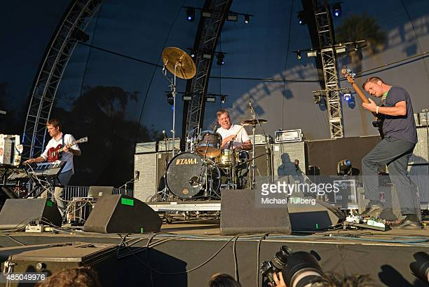 Musicians Ian Williams John Stanier and Dave Konopka of Battles perform during Day 2 of FYF Fest 2015 at LA Sports Arena Exposition Park on August 23...