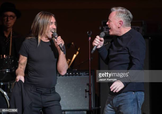 Musicians Iggy Pop and Bernard Sumner of New Order perform at the Tibet House US 30th Anniversary Benefit Concert Gala Celebrating Philip Glass's...
