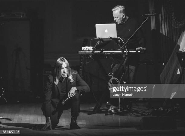Musicians Iggy Pop and Bernard Sumnerperform at the Tibet House US 30th Anniversary Benefit Concert Gala Celebrating Philip Glass's 80th Birthday on...