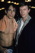 Iggy Pop and David Bowie pose backstage after an 1986 Iggy Pop concert at The Ritz in New York City