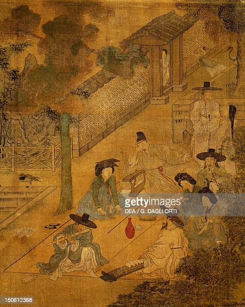 Musicians in the street detail on screen with eight panels depicting moments of everyday life signed by Kim Hongdo ink and colours on silk Korean...