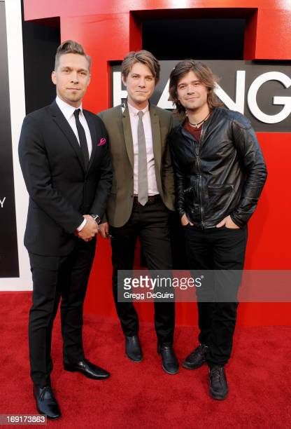 Musicians Isaac Hanson Taylor Hanson and Zac Hanson of Hanson arrive at the Los Angeles premiere of 'The Hangover III' at Mann's Village Theatre on...
