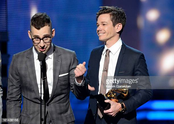 Musicians Jack Antonoff and Nate Ruess of fun accept Song of the Year award for 'We Are Young' onstage at the 55th Annual GRAMMY Awards at Staples...