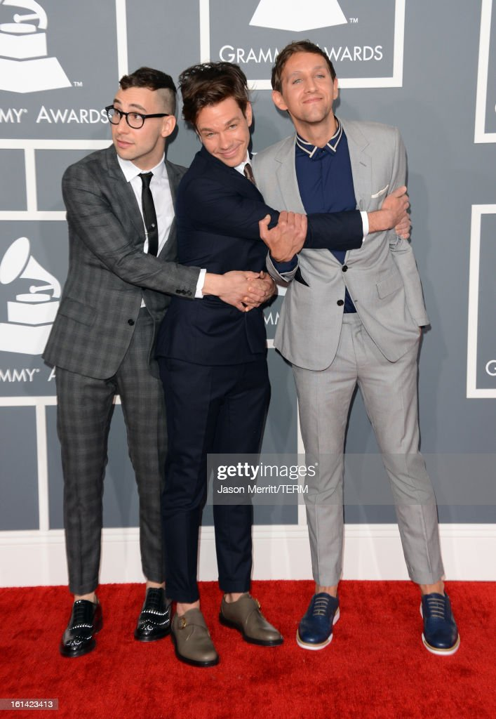 Musicians Jack Antonoff, Nate Ruess, and Andrew Dost of the band fun. arrive at the 55th Annual GRAMMY Awards at Staples Center on February 10, 2013 in Los Angeles, California.