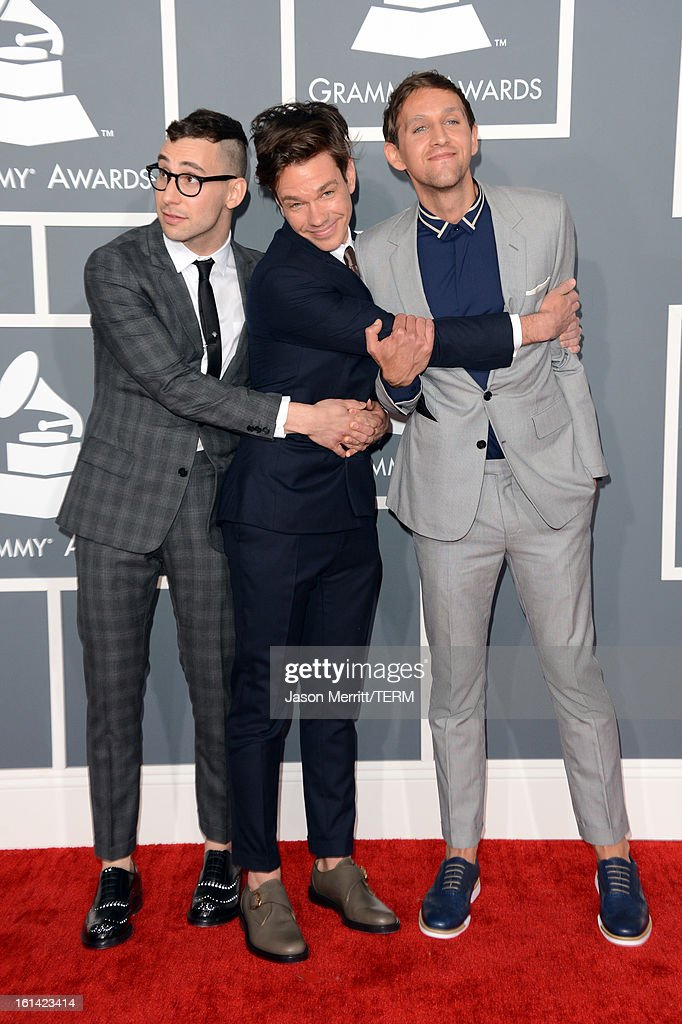 Musicians <a gi-track='captionPersonalityLinkClicked' href=/galleries/search?phrase=Jack+Antonoff&family=editorial&specificpeople=2565373 ng-click='$event.stopPropagation()'>Jack Antonoff</a>, <a gi-track='captionPersonalityLinkClicked' href=/galleries/search?phrase=Nate+Ruess&family=editorial&specificpeople=6897270 ng-click='$event.stopPropagation()'>Nate Ruess</a>, and <a gi-track='captionPersonalityLinkClicked' href=/galleries/search?phrase=Andrew+Dost&family=editorial&specificpeople=7336071 ng-click='$event.stopPropagation()'>Andrew Dost</a> of the band fun. arrive at the 55th Annual GRAMMY Awards at Staples Center on February 10, 2013 in Los Angeles, California.