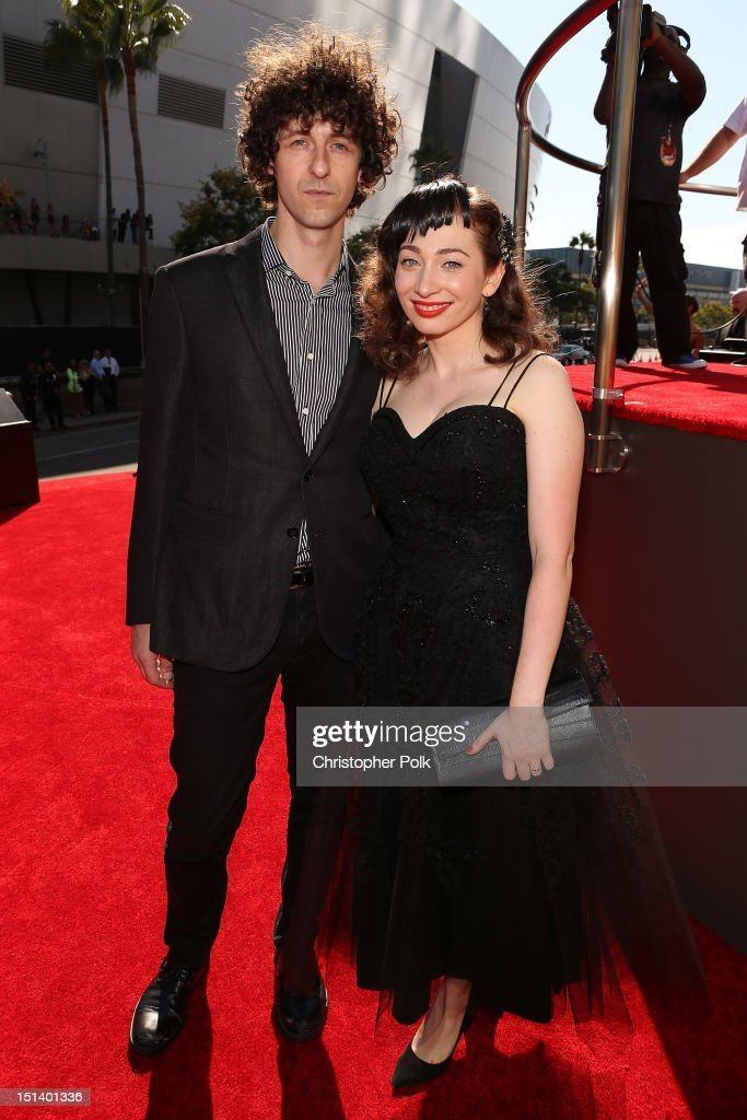 Musicians Jack Dishel of Only Son and <a gi-track='captionPersonalityLinkClicked' href=/galleries/search?phrase=Regina+Spektor&family=editorial&specificpeople=776577 ng-click='$event.stopPropagation()'>Regina Spektor</a> arrive at the 2012 MTV Video Music Awards at Staples Center on September 6, 2012 in Los Angeles, California.