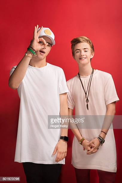 Musicians Jack Gilinsky and Jack Johnson pose for a portrait at the 16th Annual TJ Martell Foundation New York Family Day on December 13 2015 at...