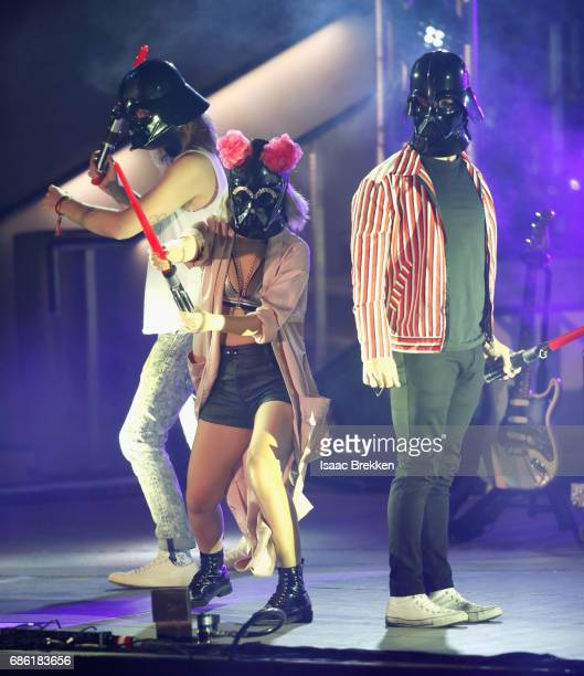 Musicians Jack Lawless JinJoo Lee and Joe Jonas of DNCE perform on the second night of CBS RADIO's 'SPF' concert at The Boulevard Pool at The...