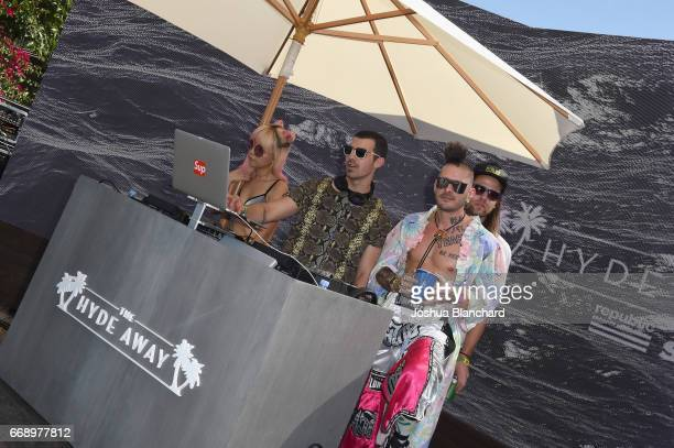 Musicians Jack Lawless Joe Jonas JinJoo Lee and Cole Whittle of DNCE perform during The Hyde Away hosted by Republic Records SBE presented by Hudson...