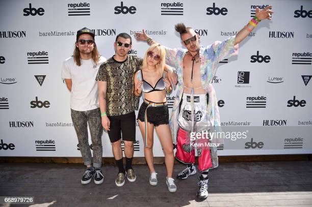Musicians Jack Lawless Joe Jonas JinJoo Lee and Cole Whittle of DNCE attends The Hyde Away hosted by Republic Records SBE presented by Hudson and...