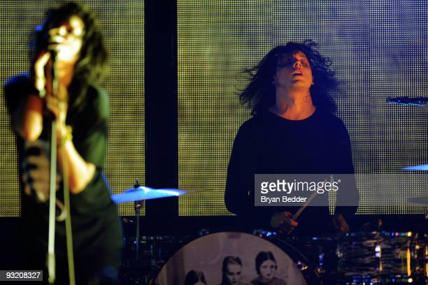 Musicians Jack White and Alison Mosshart of The Dead Weather perform onstage at the 2009 mtvU Woodie Awards at Roseland Ballroom on November 18 2009...