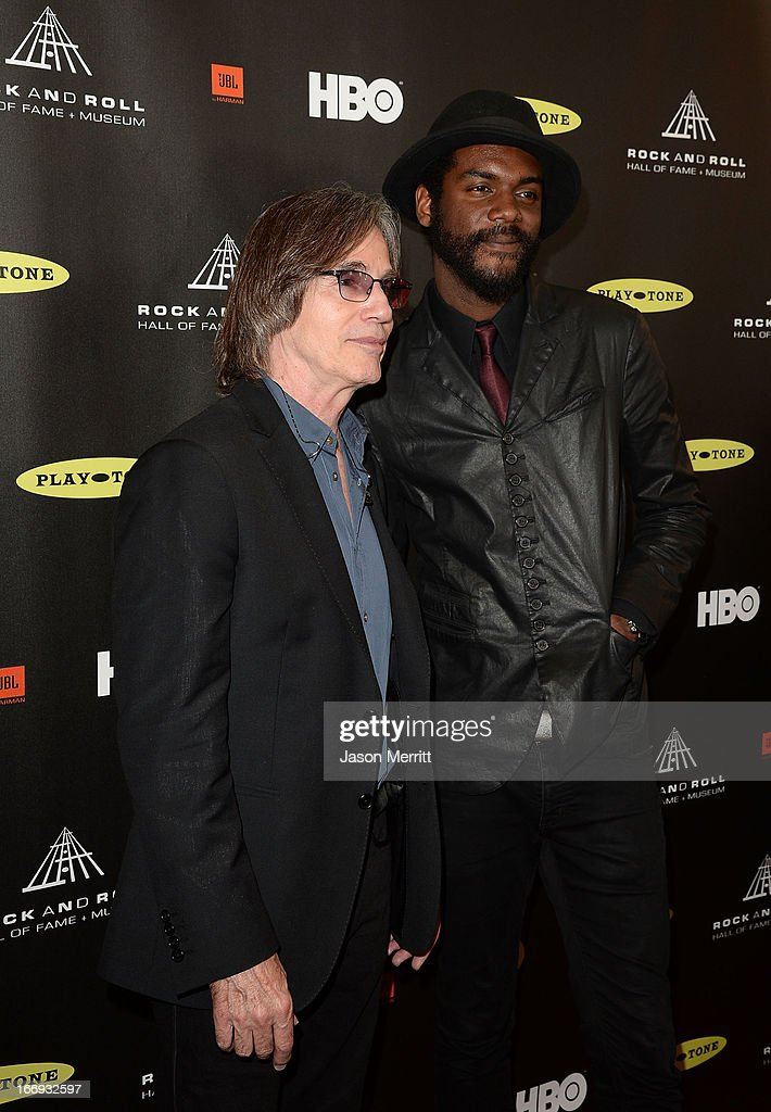 Musicians Jackson Browne (L) and Gary Clark Jr. arrive at the 28th Annual Rock and Roll Hall of Fame Induction Ceremony at Nokia Theatre L.A. Live on April 18, 2013 in Los Angeles, California.