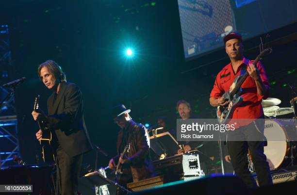 Musicians Jackson Browne and Tom Morello perform onstage at MusiCares Person Of The Year Honoring Bruce Springsteen at the Los Angeles Convention...