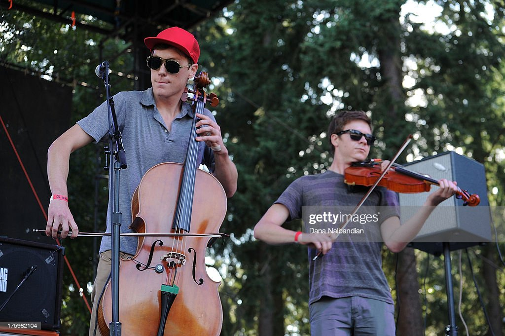 Musicians Jacob Anderson and Samuel Anderson of Hey Marseilles perform at The End Summer Camp at Marymoor Amphitheater on August 10, 2013 in Redmond, Washington.